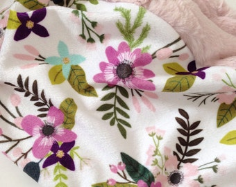 Baby Lovey Blanket, Girl Lovey, Lovey Blanket, Floral Lovey, Sprigs and Blooms Lovey, Lavender Sprigs Lovey, Purple Floral Lovey