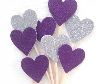 Purple and Silver Glitter Heart Cupcake Toppers, Sofia the First, Princess Party Decor, Double-Sided, Weddings, Showers, Set of 15