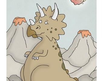 Triceratops - Cute Dinosaur Art - Nursery Prints - Nursery Wall Decor - Art for Kids Room - Kid Wall Art - Illustration Print