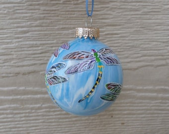 Hand Painted Ornament, blue Dragonfly Ornament   no336