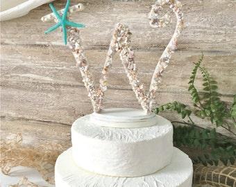 "Beach Wedding Cake Topper, Starfish Cake Topper, Seashell Cake Topper, Initial Cake Topper, Letter Cake Topper, Beach Cake Topper, 9"" High"
