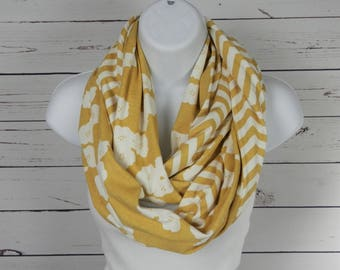 ORGANIC Cotton Knit Infinity Scarf / Two Sided Fabric, Gold Striped Chevron and Poppies / Sunny Yellow Gold Infinity Scarf / Thimbledoodle