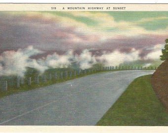 Mountain Highway At Sunset Night Scene Vintage Linen Postcard approx 1930's-1940's