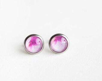 Pink Peony Studs, Pink, Peony Studs, Peony flower Earrings, peony earrings, peony, flower studs, pink studs, feminine, pink earrings