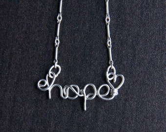 Hope Necklace, Sterling Silver Wire Word Jewlery, Word Necklace, gift idea