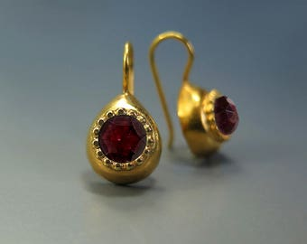 Garnet Gold Earrings, Garnet Jewelry, Garnet Drop Earrings, Handmade Jewelry Gold, Gift for Her, January Birthstone, Red Gemstone Earrings