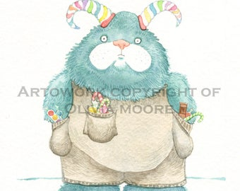 "Monster Art - Original Watercolor Painting - Cute Monster - Kids Room Wall Art - Nursery Art - 6"" x 8"""