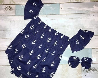 Off The Shoulder Baby Romper, Baby Girl Sunsuit,Boho Romper, Navy Anchors, Complete Baby /Toddler Set, Knot Bow Headband, Summer Playsuit