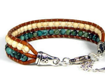 Leather Wrap Bracelet Bead Loom Bracelet African Turquoise and White Howlite Boho Bracelet Bohemian Jewelry