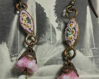 PINK MICRO MOSAIC flowers vintage antique assemblage earrings