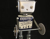 Buzz Bodybuilder Bot - found object robot sculpture assemblage by Cheri Kudja with Bitti Bots