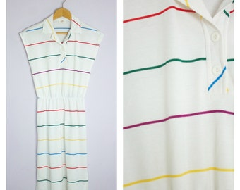 Vintage 1980's Rainbow Stripe Polo Shirt Dress XS/S