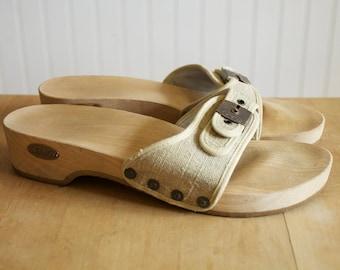 Vintage 1970's Dr. Scholl's Tan Canvas Exercise Sandals Wooden Clogs 10