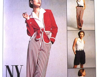 McCalls 8216 jacket pants shorts and halter top sewing pattern, the NY collection, separates, sizes 8-10-12 UNCUT