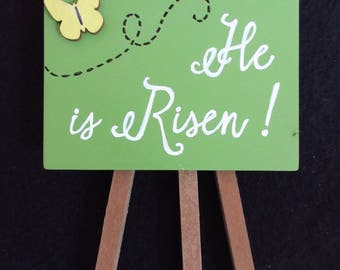 He is Risen Easel- Green, White and Black - Easter Gift Christian Home Decor