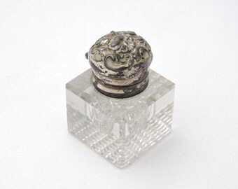 Antique 1900's Cut Glass Inkwell w/ Sterling Silver Floral Hinged Flip Top - Victorian Era, Art Nouveau Style