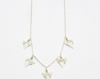 Shark's Cove Necklace - Sterling Silver Fossilized, Fine Dainy Chain, Bohemian Beach Jewelry Ocean Animal Fancy Layering Handmade Gypy