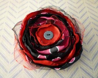 Flower Pin Boho Chic Polka Dot - Black & Hot Pink Boho Chic Flower Pin
