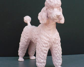 Adorable Light Pink Blush Poodle Dog Figurine Nursery Shelf Decor