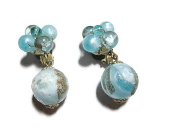 Vintage Wedding Cake Earrings Pale Blue West Germany 1940s - 1950s
