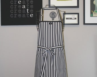 Apron Full length Black and White Stripe Cook's Apron black and white apron