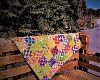 Summer Song Quilt--Inspired by Kaffe Fassett Collective Fabrics in Yellows, Greens and Purples