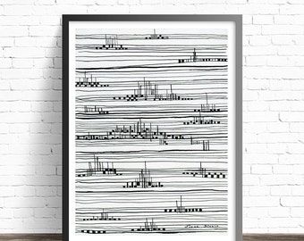 Minimalist Black and white Print. Abstract Painting Print. Minimalist drawing prints. Modern art. Minimalist print. Modern abstract art