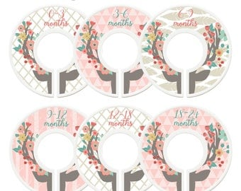 Closet Dividers, Assembled, Baby Closet Dividers, Closet Organizers, Floral Antlers Nursery Decor, Woodland Nursery Decor, Girl, Pink, Mint