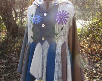 XL. Magical hoodie jacket in soft wool fabrics, with appliqued linen flowers. Gray, blue, brown, beige, soft neutral colors.