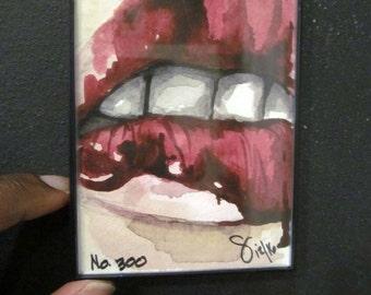 Bloody, No. 300, Original Artwork , Framed in Black Plastic, Acrylic painting, Gift Ideas, Lips Series, Lips,Decor, Artwork, Decoration