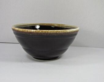 Vintage RUSTIC CROCK BOWL Brown Drip Pottery Mixing Serving