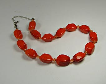 Vintage ORANGE BEADED NECKLACE Beads Costume Jewelry Spring Summer Gift