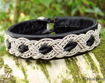 Sami Bracelet Cuff ALFHEIM Lapland Swedish Bracelet in Black Reindeer Leather with Pewter Braid and Carved Antler Closure