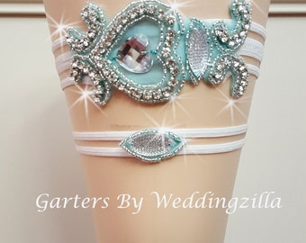 Bridal Garter, Aqua Wedding Garter, Bling Garter Set, Wedding Garter Belt, Heart Wedding Garter, Bombshell Garter, White Aqua Garter Set
