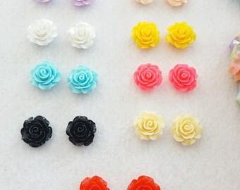 Pair of Rose Flower Earrings.