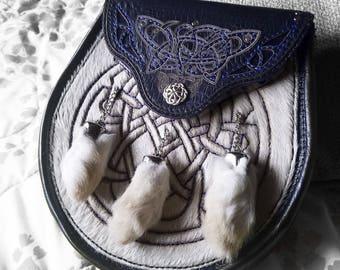 CUSTOM Made to ORDER | Celtic Leather Sporran | Scottish Pouch | Bag | Kilt | Pocket | Rennaissance Faire | Engraved Cow Hair | Rabbit Feet