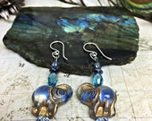 Blue Elephant Earrings - Elephant Jewelry, Elephants, Animal Jewelry, Elephant Lovers, Elephant Gifts, Circus, Ganesh, Animal Gifts