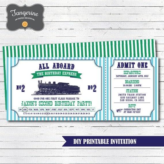 train birthday invitation printable vintage train ticket