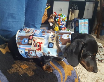 Doggies in Blue Plaid Doggie Coat XS
