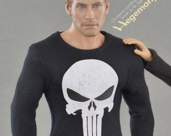 1/6th scale black long sleeve Punisher skull T-shirt for: collectible action figures and male fashion dolls