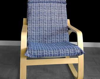 Navy IKEA POÄNG Chair Cover, Herringbone Ikea Seat Cover