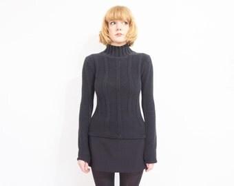90s Black Rib Knit Turtleneck Sweater