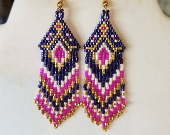 Native American Style Beaded Hot Pink, Dark Purple, Gold and White  Earrings Southwestern Boho, Peyote, Gypsy, Brick Stitch, Ready to Ship