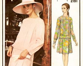 Edgy Uncut Vintage 1960s Vogue Paris Original 2191 Designer Nina Ricci Pleated Two-Piece Dress, Blouse and Skirt Sewing Pattern B34