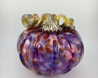 """4.5"""" Glass Pumpkin by Jonathan Winfisky - Mottled Series - Purple - Hand Blown Glass"""