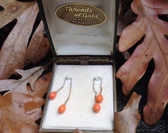 Vintage 14 K Coral-Colored Dangle Earrings, Dainty