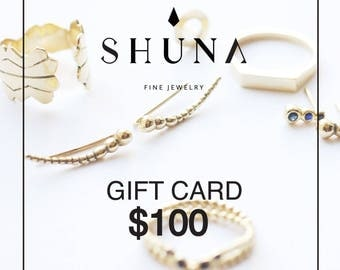 Gift Certificate - Last Moment Shopping - Gifts under 100 USD - Holiday Gift - Gift For Her - Unique Jewelry Gift - By SHUNA Jewelry