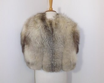Vintage 1940s real arctic platinum silver fox fur cape stole wrap cream white grey