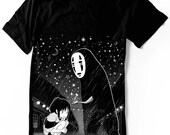 No Face T-Shirt Anime Manga Spirited Away shirt Kaonashi Ghibli  Unisex - Women sizes -  Hand Screenprinted