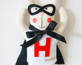Super hero bunny rabbit plush with personalised name
